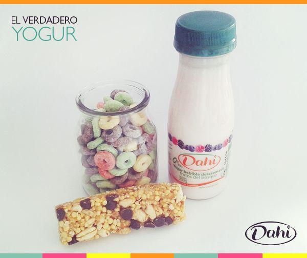 Yogur Dahi bebible descremado de Frutos del Bosque con.... ¿Aritos de colores o barrita de cereal? #Dahi #ElVerdaderoYogur