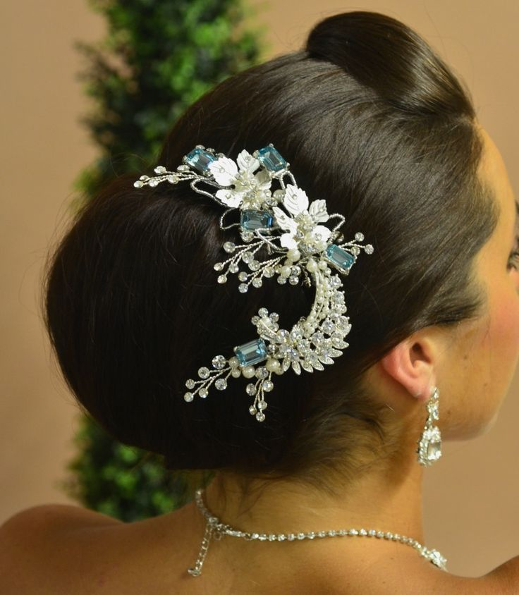Beautiful something blue - Silver and Blue Floral Wedding Hair Comb Ansonia Bridal 8631 - Affordable Elegance Bridal -