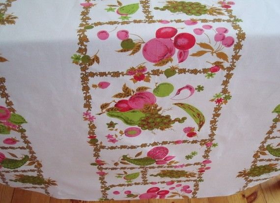 Pink Fruit Salad CottonTablecloth 55 x 77 by brownmouse60 on Etsy
