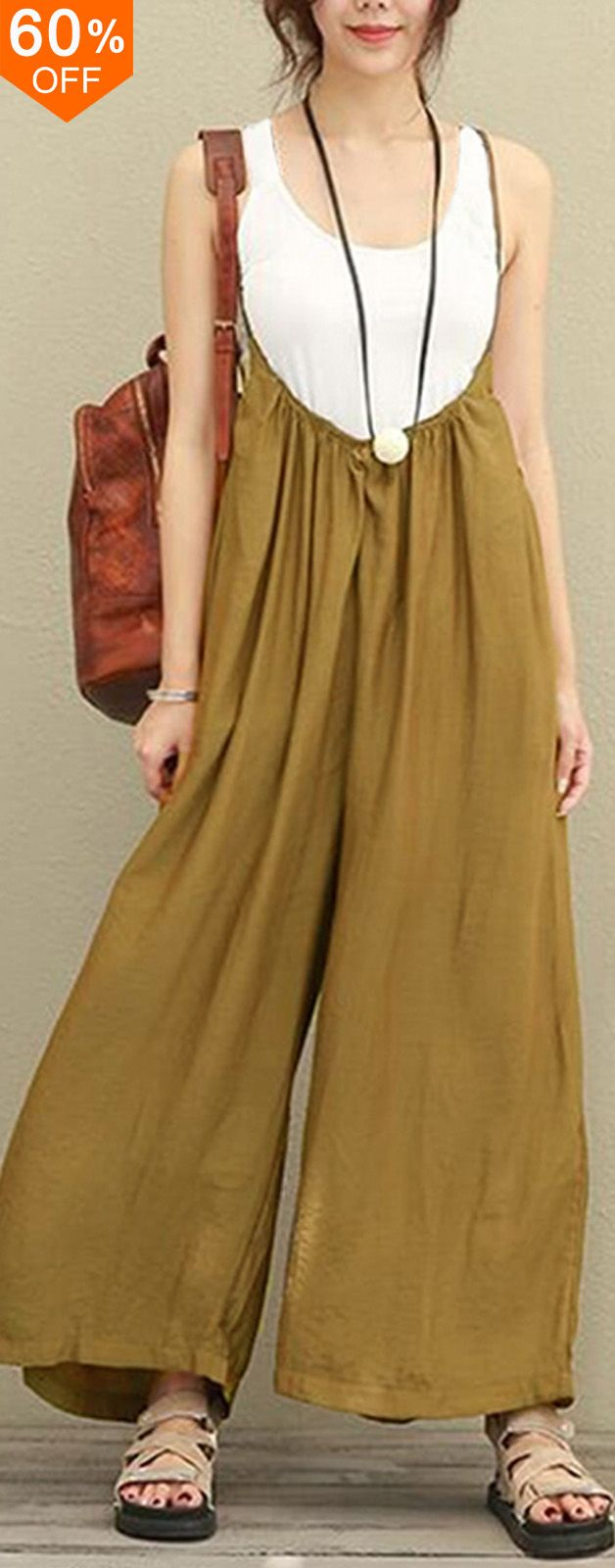 Women Casual Sleeveless Strap Baggy Wide Leg Pant Jumpsuit Rompers.  #women #leggings #fashion