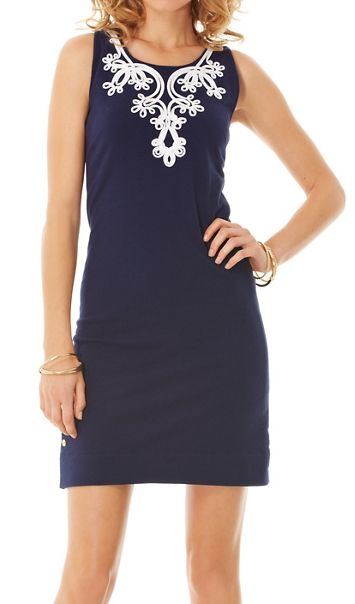 Lilly Pulitzer- Foster French Terry Shift Dress. Could diy simple shift dress with vintage doilies or lace