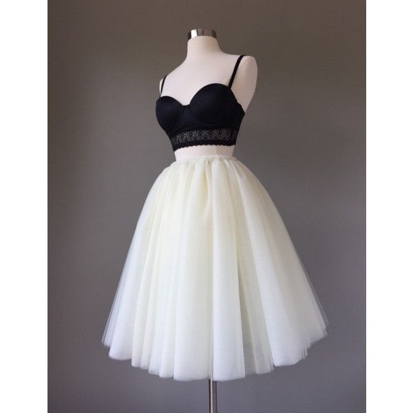 Light Ivory Tulle Skirt Adult Tutu Wedding Skirt 8 Layer Adult... ($65) ❤ liked on Polyvore featuring skirts, dresses, black, women's clothing, long skirts, tutu skirts, black mini skirt, black tutu skirt and long a line skirt