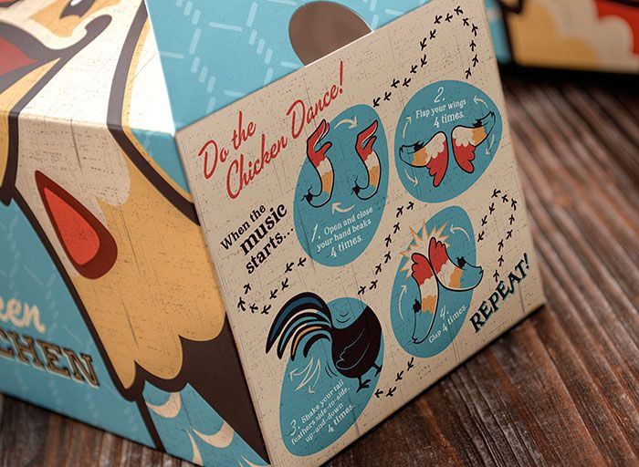 """Custom die lines based upon the chicken character playfully distinguish the packaging, """"breaking the frame"""" both physically and visually. Kids boxes were printed with several different variations of jokes and kids' games on the side, as well as a surprise here or there if you were to take a peek under the box. Ultimately the packaging is one element supporting a unique store environment boasting 'chicken you'd cross the road for.'"""""""