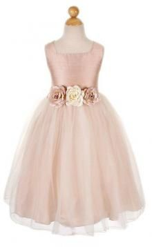 Sleeveless Flowery Waist Satin and Tulle Flower Girl Dress