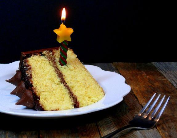 Best Yellow Birthday Cake with Chocolate Icing slice