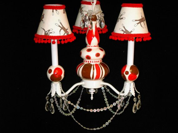 Sock Monkey Chandelier Children's Lighting by whimsicalcollections. How cute!