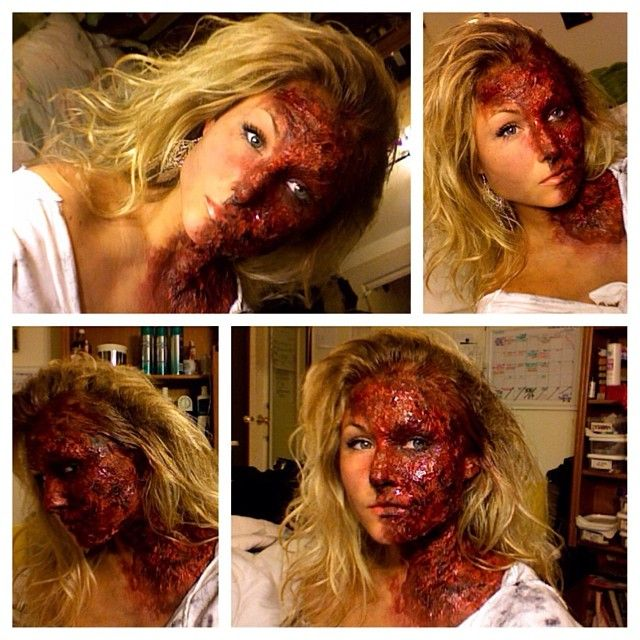 Easiest DIY halloween makeup!! Elmers glue and toiletpaper!! no lie ... with makeup every woman has and a little fx fake blood ;)