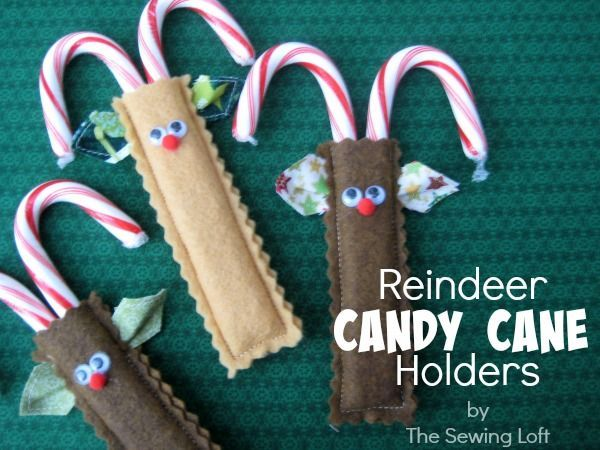 Adorable! Reindeer Candy Cane Holders with Heather from The Sewing Loft blog