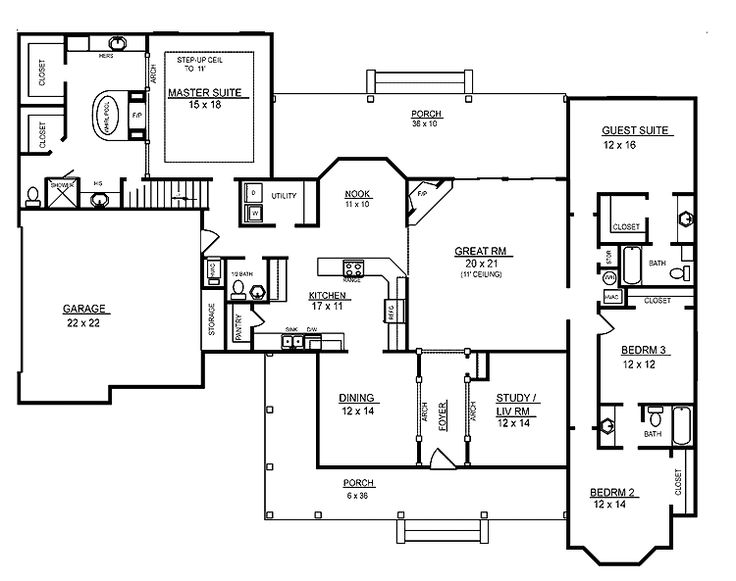 4 room house plans home plans homepw26051 2 974 square - Single story four bedroom house plans ...