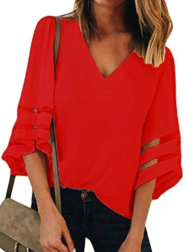 44fdc69f7a5203 Buy BLENCOT Womens Red Ladies Sexy V Neck 3 4 Sleeve Chiffon Blouse Shirt  Solid Patchwork Loose Flowy Tops Medium