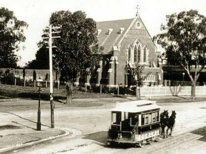 Horse tram in Sydney Rd Coburg,Victoria in front of St Paul's Church. •Coburg Historical Society•