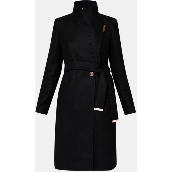 Ted Baker Cashmere-blend wrap front coat (1.830 BRL) ❤ liked on Polyvore featuring outerwear, coats, ted baker coats, cashmere blend coat, waist belts, long sleeve coat and ted baker