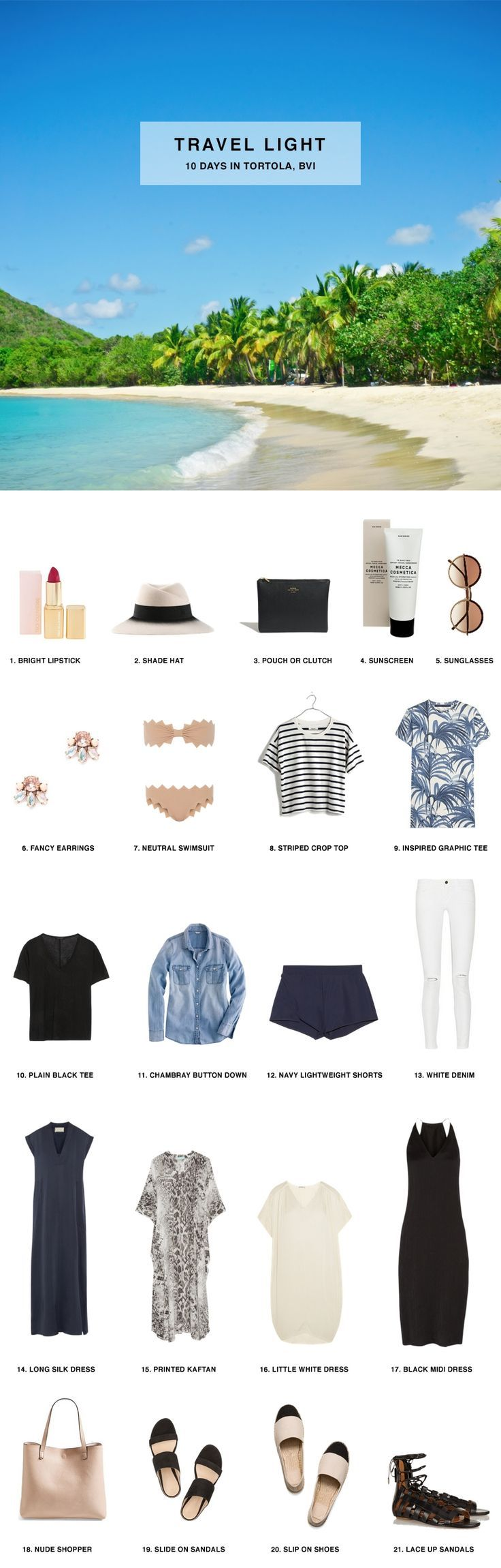 Pack for 10 Days in Tortola, British Virgin Islands, includes packing list  and outfits