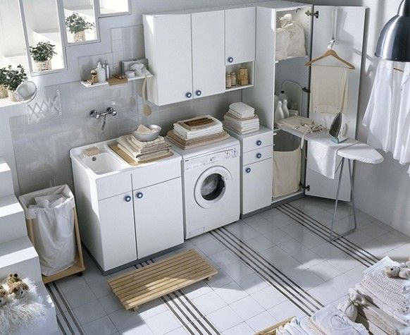 soft white laundry room