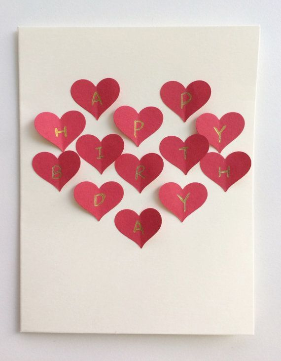 Red Heart Collage Handmade 3D Postcard Card Romantic Gift For Girlfriend Boyfriend Birthday