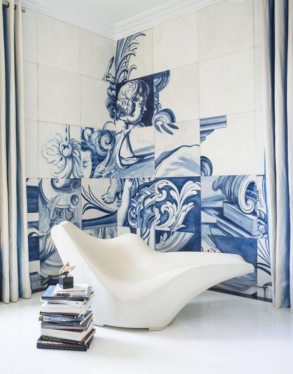 синие и белые плитки - Португальский AzulejosВ смелый шаг, Мартинс покрыты стены в синих и белых португальской плиткой, известных как Azulejos. В 243 ручная роспись плитки являются верными копиями моделей 18-го века и конструкций. Чтобы доставить поворот 21-го века на традиционной форме и рисунку, Антонио расширила размер плитки и перемешиваются изображения стать современным произведением искусства. Невероятный.