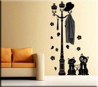 adesivo da muro appendiabiti gatti