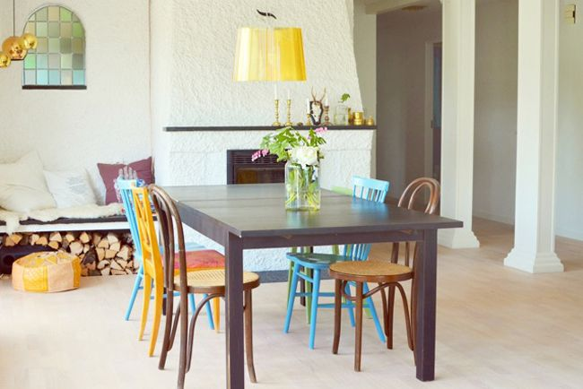 tránsito inicial: KRICKELIN HOME Boards, Dining Room, Mismatched Chairs, Living Inspiration, Deco, Tránsito Inicial, Sweets Lil, Dining Table'S, Color