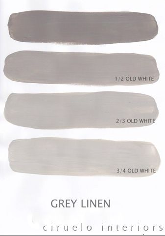 "Grey Linen (called French Linen in the US) Excellent info from Ciruelo Interiors Blog; ""Annie Sloan Chalk Paint lovers: Here is my extended colours range"" show how the colors can be mixed to achieve huge color range~"