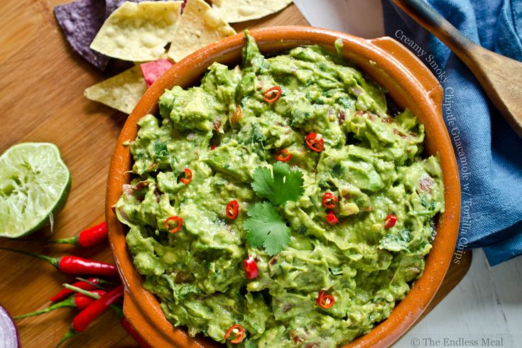 Creamy Smoky Chipotle Guacamole with Tortilla Chips | Food ...