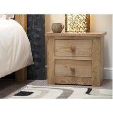 Torino Oak Furniture 2 Drawer Narrow Bedside Cabinet