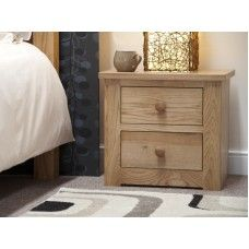 Torino Oak Furniture 2 Drawer Narrow Bedside Cabinet