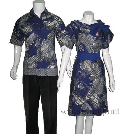 baju batik sarimbit pasangan modern biru