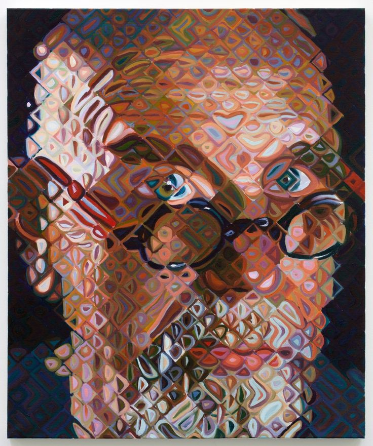 Painting style by Chuck Close. Close up it looks abstract but the farther away you get, the more it looks just like a portrait, not a bunch of weird shapes.