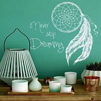 Wall Decal Quote Never Stop Dreaming Dreamcatcher Dream Catcher Tribal Ethnic Native Feathers Art Protection Amulet India Vinyl Sticker Home Décor Living Room Yoga Studio Murals S11