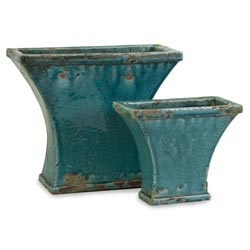 argento fan distressed turquoise planter