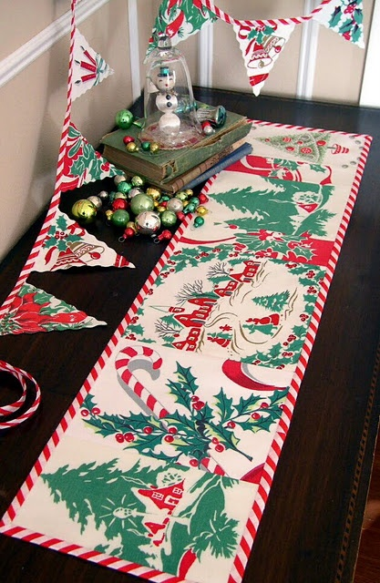 Vintage Christmas tablecloth runner and banner  made from vintage tablecloth cutter stash
