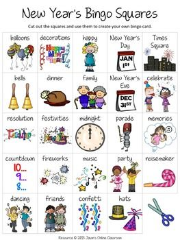 "New Year's Free Create Your Own Luck Bingo - This resource includes 24 New Year's related images and vocabulary words and a blank ""MY BINGO CARD"" template that students can use to create their own unique New Year's themed bingo cards.  DOWNLOAD. PRINT."