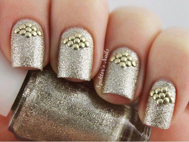 Golden Stud Rhinestone Acrylic UV Gel Nail Art 1 Bag 1.5mm ...