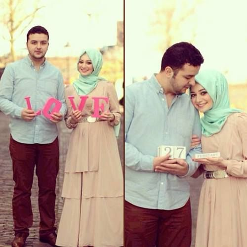 OMG, how lovely. They all made me smile (except the one with the weird red top/skirt). Go to the link to see many muslim couple photo ideas.