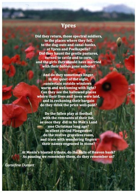 Remembrance Day poem, I have been to Ypres. It is a place which touches the heart.