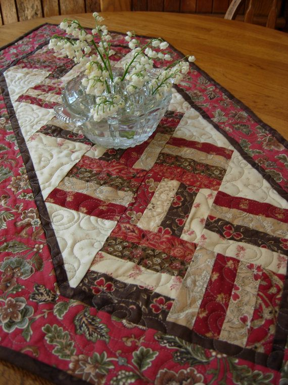 Mill Brook Rail Fence Table Runner by WoodenNeedleNook on Etsy