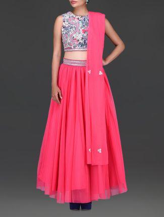 Buy Kriti J Candy pink embellished net lehenga set Online, , LimeRoad