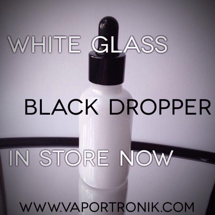 30 ml (1oz) white glass bottle whit black dropper www.vaportronik.com #vape #vaper #vapeon #vapelife #vapelove