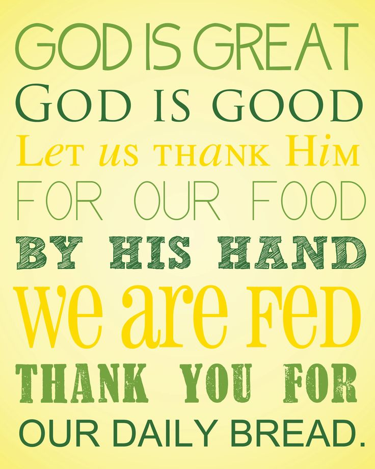 God is Great, God is Good Prayer Digital Art Printable, No. 83. $5.00, via Etsy.