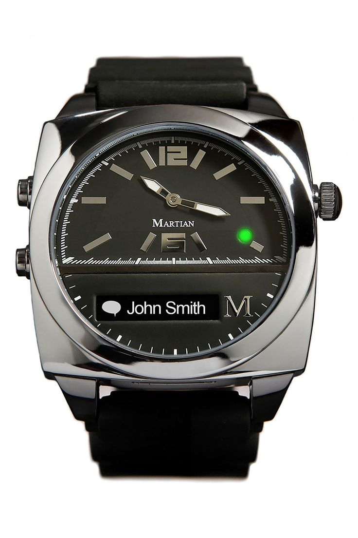 Martian Watches 'Victory' Square Silicone Strap Smart Watch, 41mm