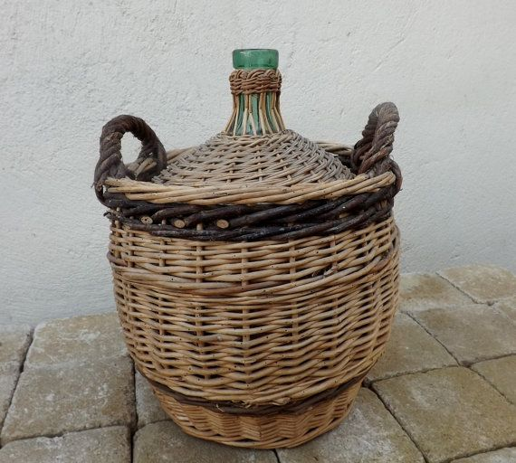 French demijohn in hand woven wicker basket by Daisyrootsfrance