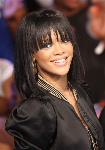 Rihanna Lob w/fringe bangs