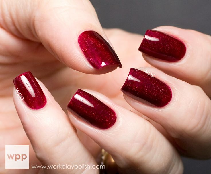 Dark Red Holographic Nail Polish