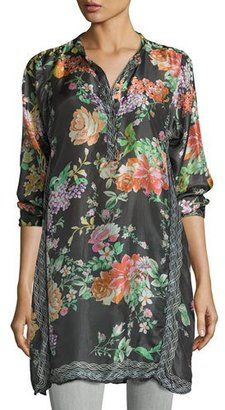 Johnny Was Camilla Long Floral-Print Silk Tunic Plus Size #plus #tops #women