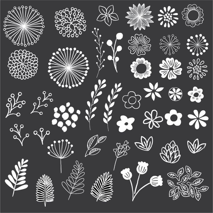 Chalkboard Floral Clipart-Clip Art-Floral Clipart-Chalk Clipart-Rustic Clipart-Boho Clipart-Vector AI und PNG-Instant Download