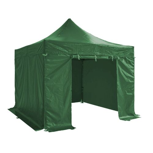 Folding Tent PRO Series 50mm Aluminium Structure + 4 Sides PVC 520g/m2 Tarpaulin 3x3m for Professional Needs or Daily Use Green