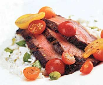 Grilled Spice-Rubbed Flank Steak with ginger, cinnamon, coriander, and ...
