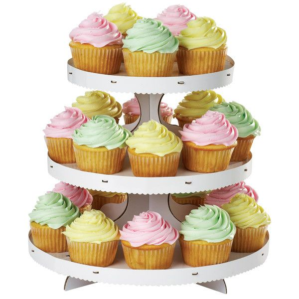 White Cupcake Stand   3 Tiers