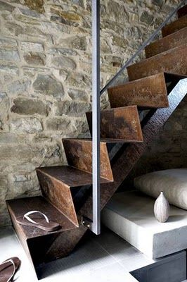 Maybe one day I'll be blessed with a staircase like thisOld House, Sheet Metals, Stones Wall, Rustic Chic, Rustic Design, Chic Interiors, Rusty Metals, Metals Stairs, Outdoor Stairs