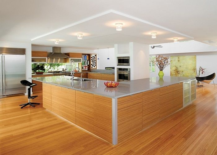 Stunning Large Modern Kitchen with L Shaped Island and Nice Ceiling Lights